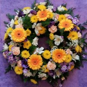yellow,white and blue wreath