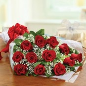 12 Red Rose BQ with Gypsophila
